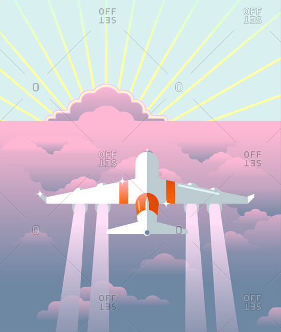 An illustration of a plane flying