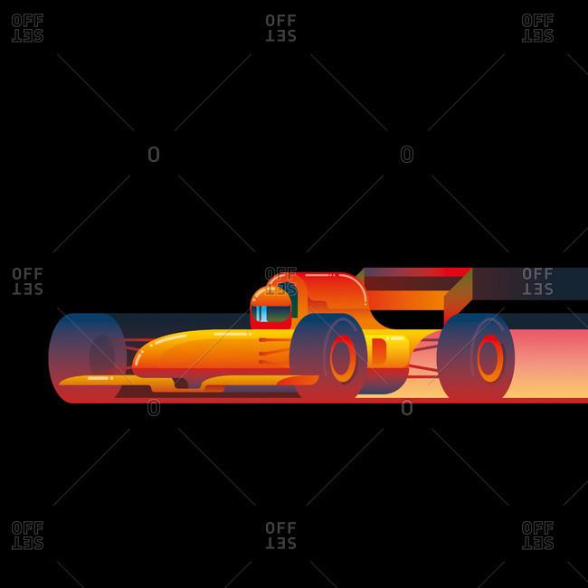 An illustration of a race car