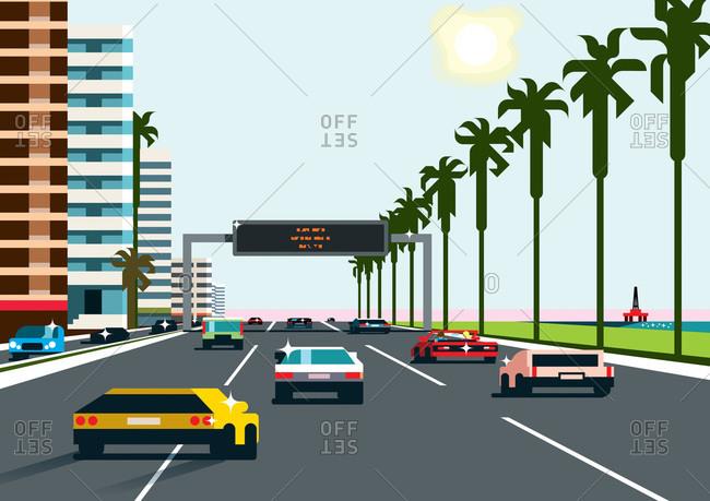 An illustration of a costal freeway