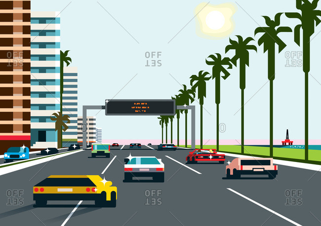 An illustration of a costal freeway