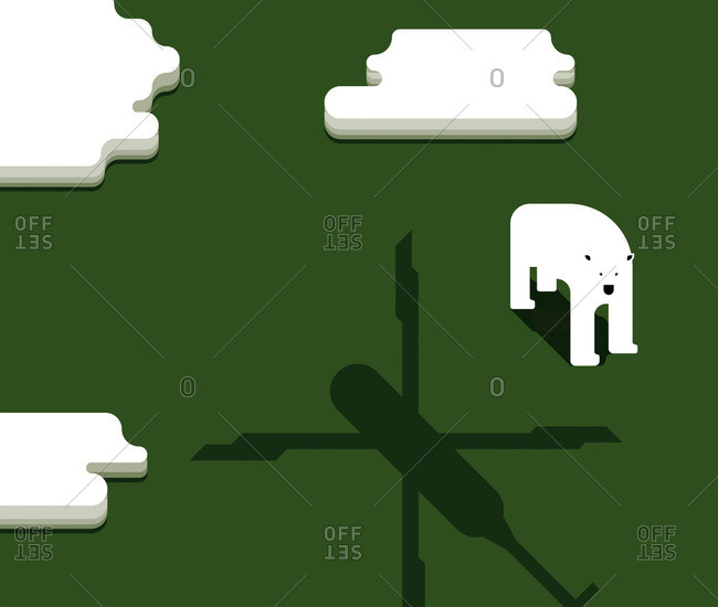 An illustration of a polar bear and helicopter shadow