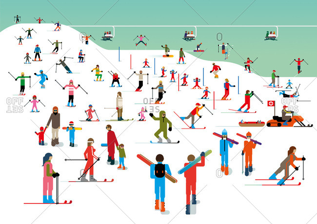 An illustration of a crowded ski hill