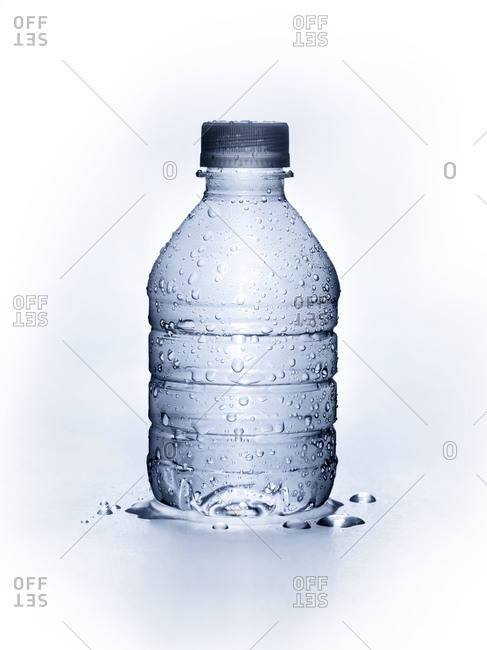 Water bottle covered in condensation