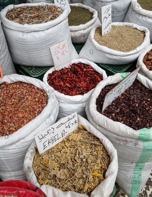 Spice bags at market in Acre, Israel