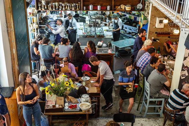 Jerusalem, Israel - September 10, 2014: Interior of restaurant with patrons, Jerusalem, Israel