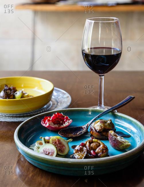 Stuffed figs in tamarind sauce in Israeli restaurant