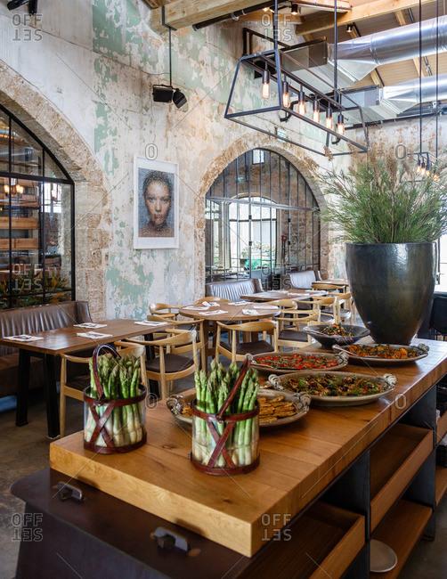 Tel Aviv, Israel - September 11, 2014: Empty restaurant interior in Israel