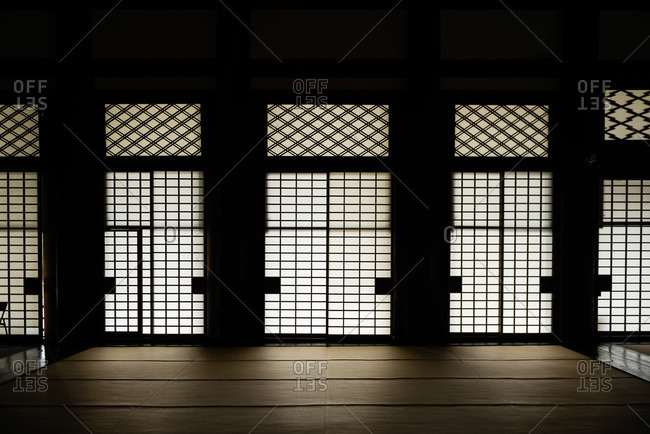 Mat floored interior of a buddhist temple in Japan