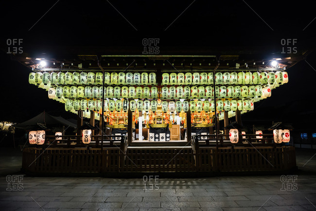 July 12, 2015: Lanterns above stage at Yasaka Shrine in Kyoto, Japan