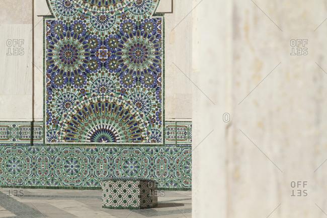 Casablanca, Morroco - June 8, 2015: Designs on wall of Hassan II Mosque
