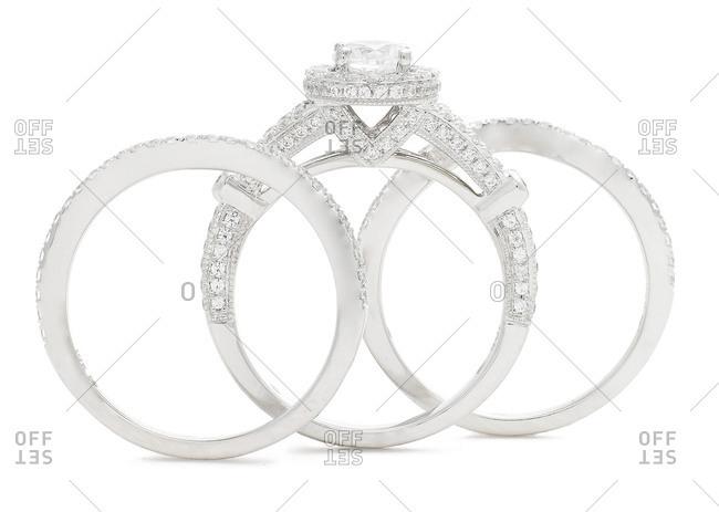Diamond ring and wedding band set