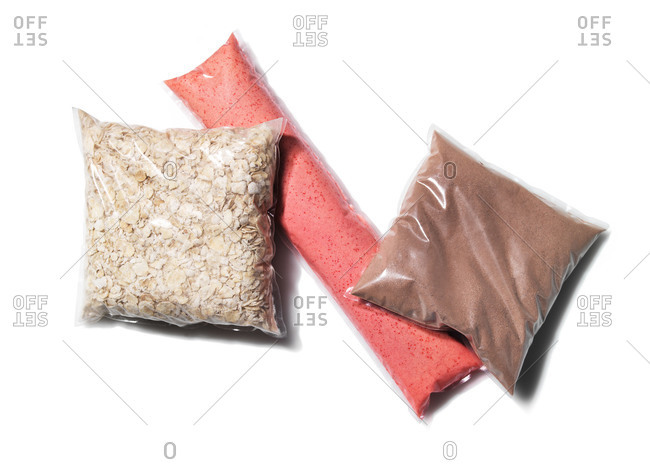 Clear pouches of dried foods