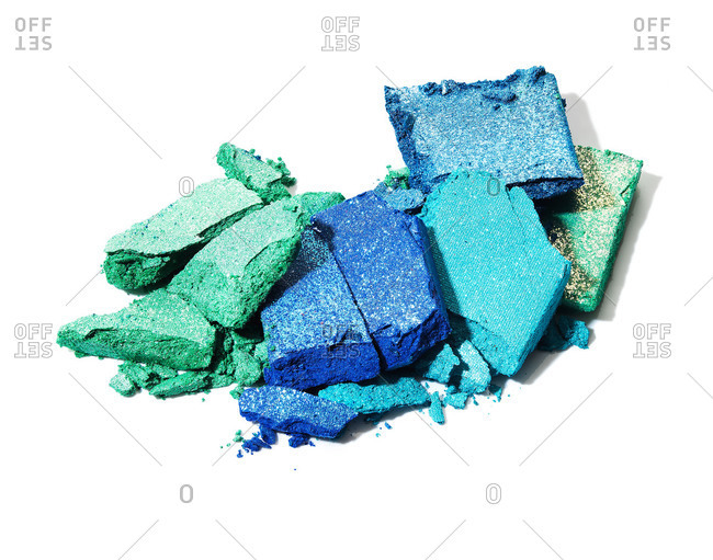 Different shades of blue crushed blocks of eye shadow
