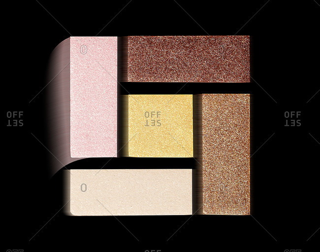 Palette of eye makeup arranged in a square
