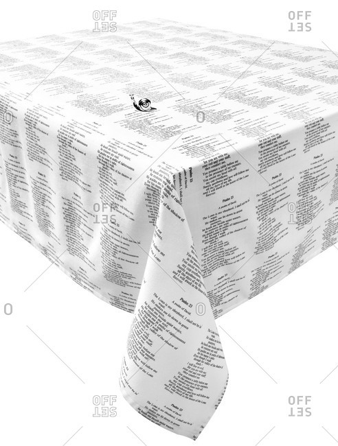 Tablecloth printed with verses from the Bible