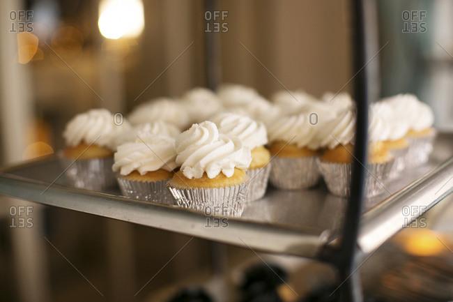 Mini-cupcakes ready to serve at wedding reception