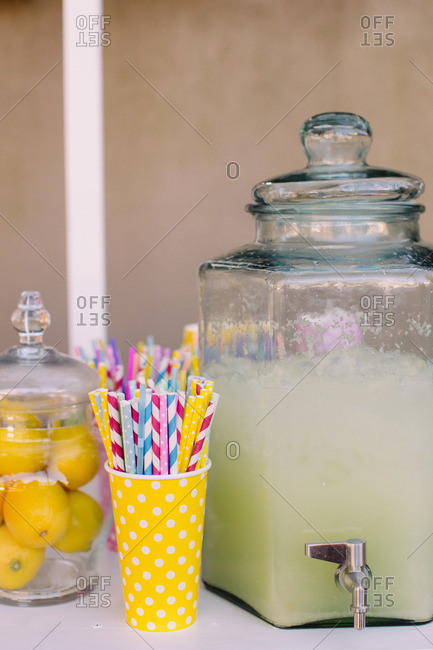 Lemonade served with straws
