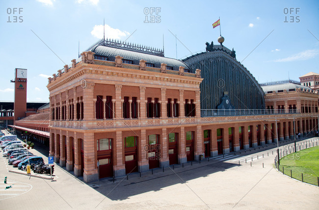 Madrid, Spain - July 30, 2015: Front of the Atocha Train Station in Madrid