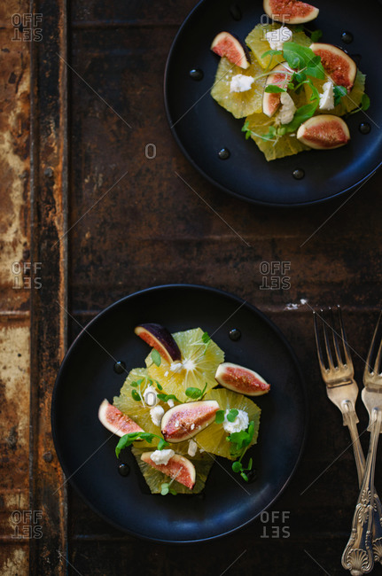 Two fig and citrus salad plates