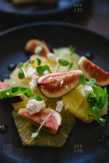 Close-up of a fig fruit salad