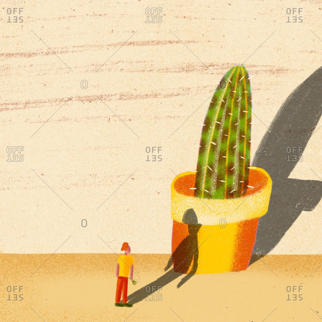 An illustration of a small woman next to a cactus