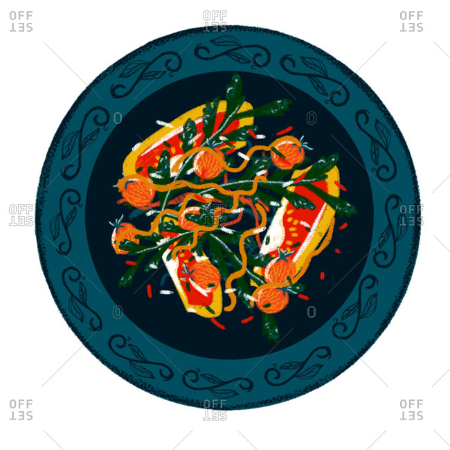 An illustration of a colorful salad
