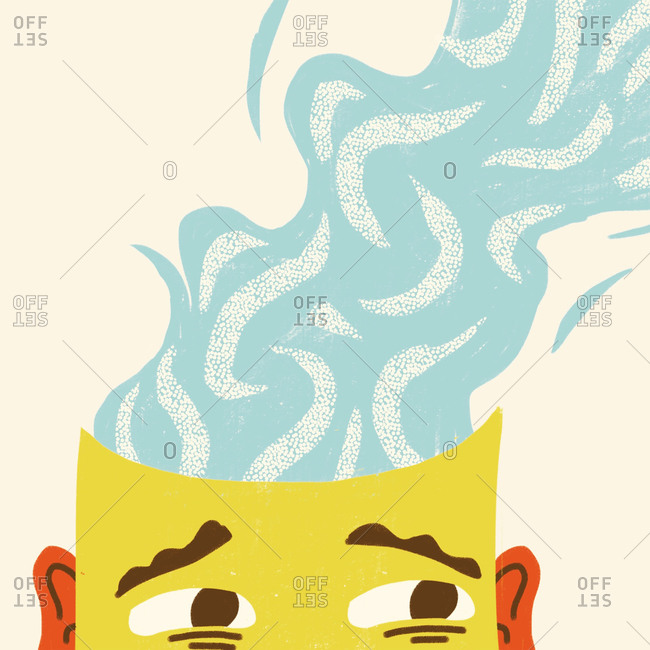 An illustration of a man's steaming head