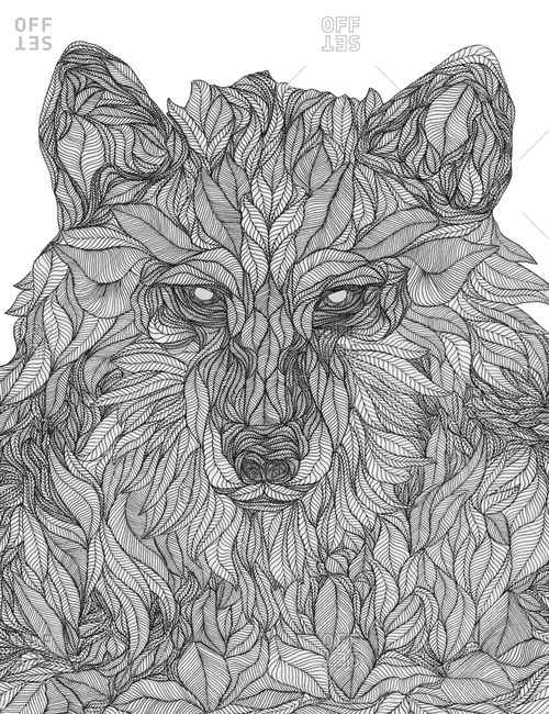 An illustration of a wolf made from leaves