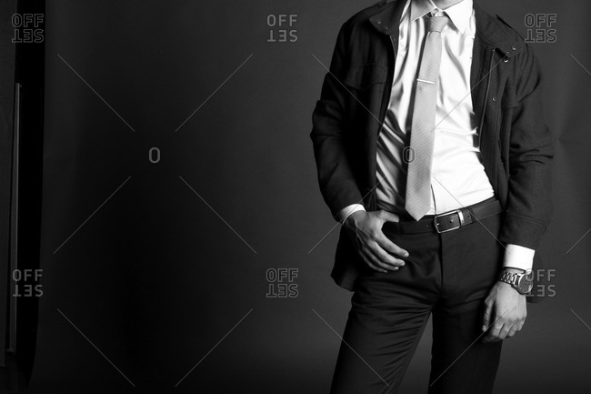 Neck down shot of fashionable businessman