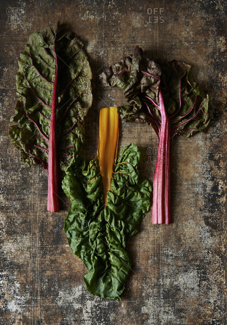 Three leaves of colorful chard on rustic metal background