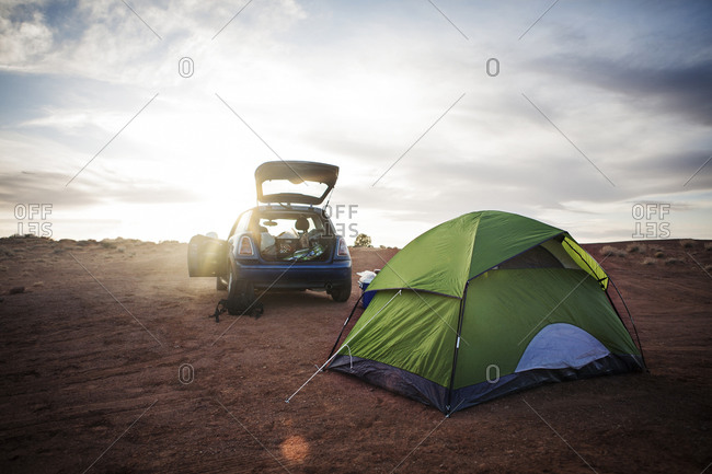 Campsite with tent and car