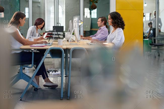 Open-plan office workspace in an advertising agency