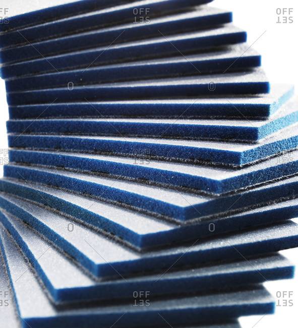 Edges of stacked sandpaper pads