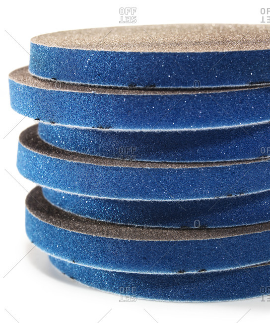 Stack of round sandpaper pads