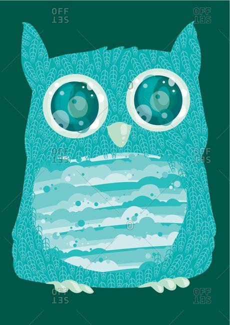Illustration of a blue owl