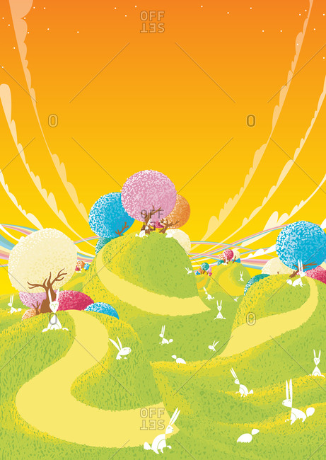 Bunnies in a psychedelic landscape