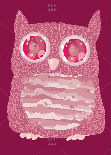 Illustration of a pink owl