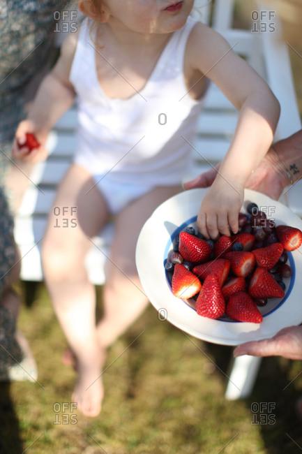 Child in yard eating berries