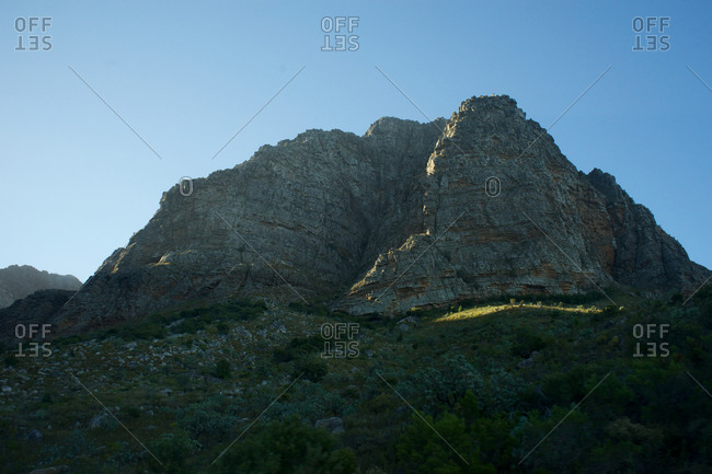 Rocky cliff and blue sky in South Africa