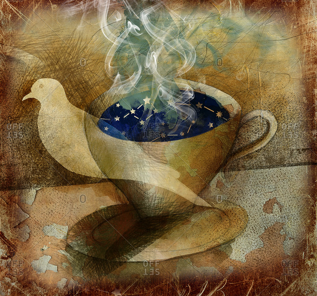 Bird and cup and saucer containing constellations