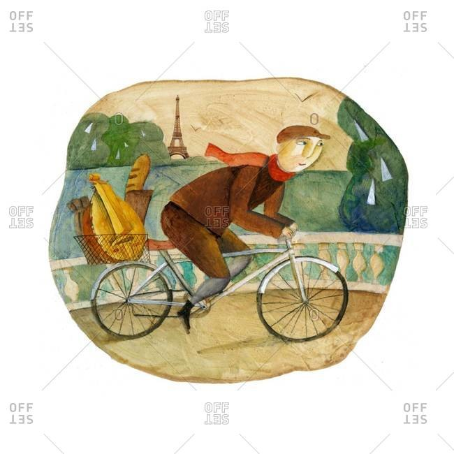 Man riding a bicycle with lute and baguette in basket and Eiffel Tower in the background