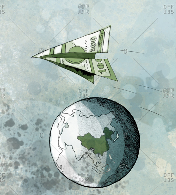 Hundred dollar bill folded into a paper airplane flies above the globe showing China