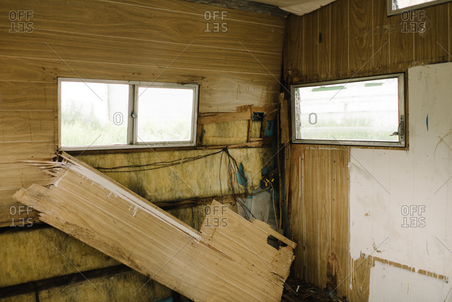 Interior of an old camping trailer