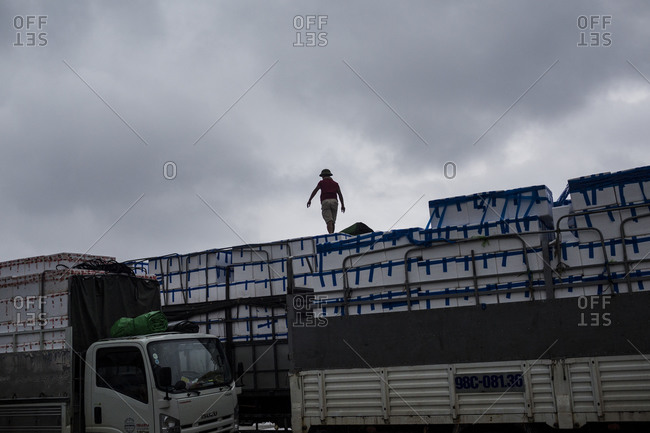 Lao Cai, Vietnam - June 22, 2015: A man checks the produce in his truck after a morning rain storm in Vietnam