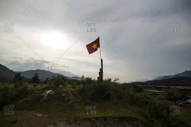 A Vietnamese flag flies near the infamous Kilometer Zero border crossing from Vietnam into China