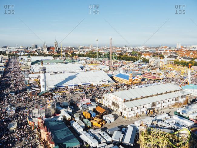 View of Oktoberfest fair on Theresienwiese