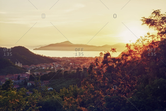 View on Sestri Levante at sunset, Liguria
