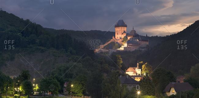 Karlstejn Castle in the evening.