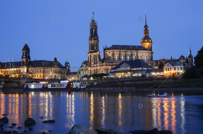 Dresden Cathedral in the evening, Dresden
