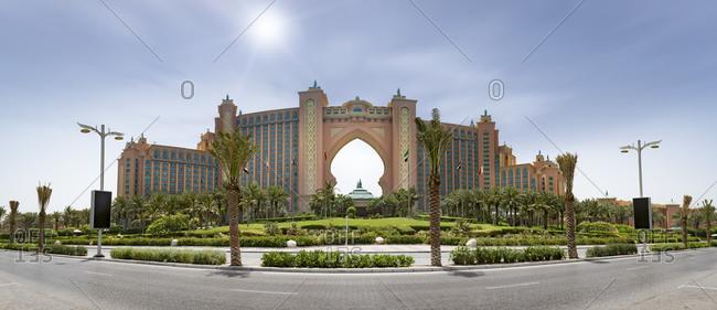 Dubai, UAE - June 3, 2015: Panoramic view of the Atlantis the Palm Hotel, Dubai